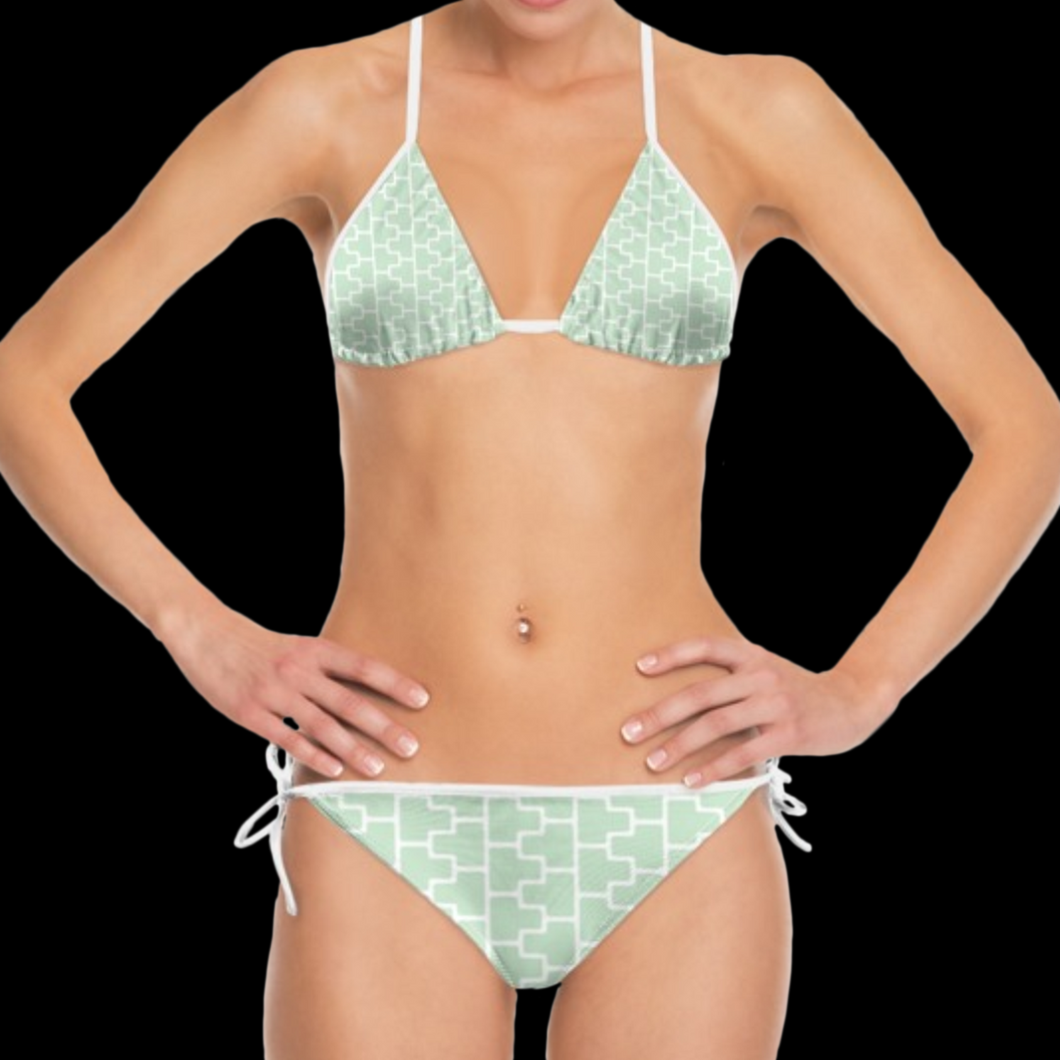 SPRUIKA powder green-on-white 'ZipTrak' Bikini