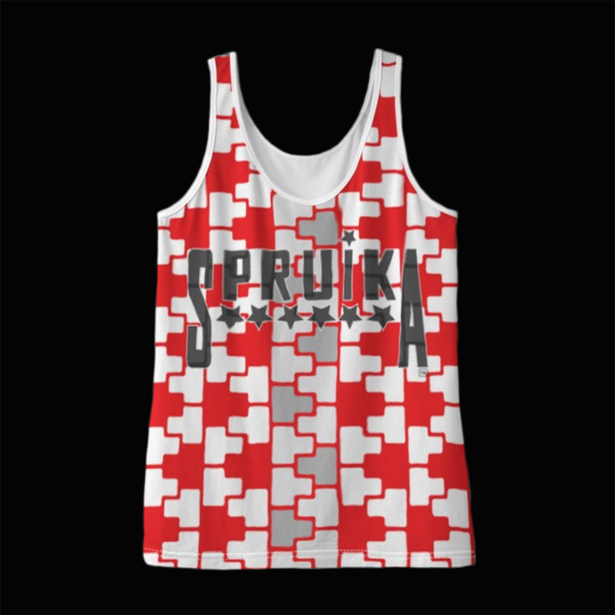 SPRUIKA red-on-white 'Check' Lok-Up Tank Top in Solange Silk Jersey fabric (ZIP Front Design)