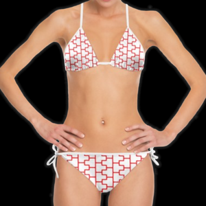 SPRUIKA white-on-red 'ZipTrak' Bikini