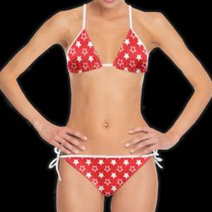 SPRUIKA white-on-red 'Universe' Bikini
