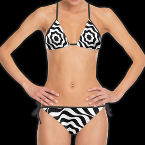 SPRUIKA white-on-black 'Vortex' Bikini
