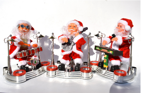 Electric Santa Claus playing piano music dolls Christmas costumes jewelry