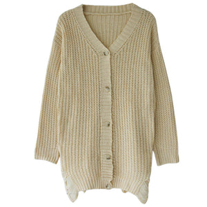d4251a152f NEw Sexy Women Knitting Sweater Dress Deep V-Neck Distressed Buttons Solid  Loose Casual Party