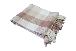 Brown Herringbone Plaid Throw
