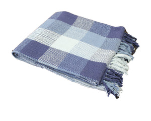 Midnight Blue Herringbone Plaid Throw