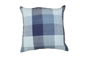 Midnight Blue Herringbone Check Cushion