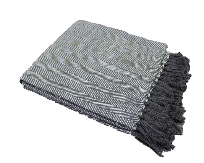 Black Herringbone Stripe Throw
