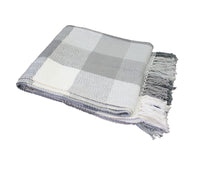 Load image into Gallery viewer, Ash Grey Herringbone Plaid Throw