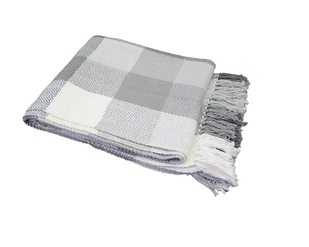 Ash Grey Herringbone Plaid Throw
