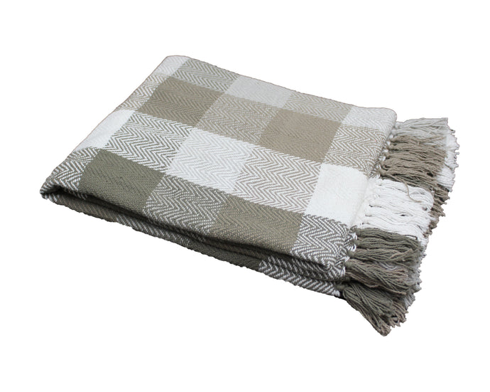 Stone Grey Herringbone Plaid Throw