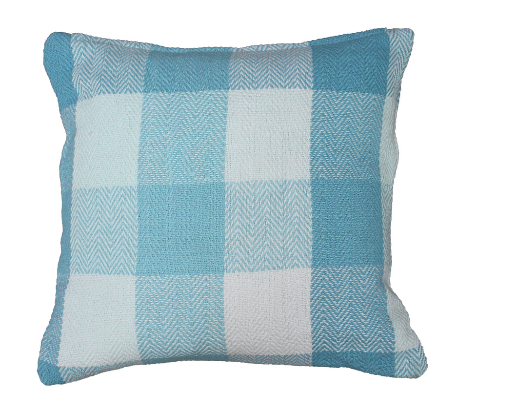 Aqua Herringbone Check Cushion