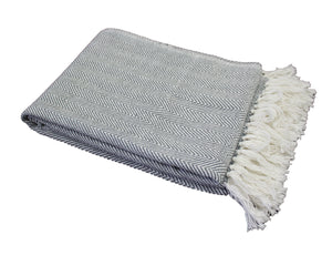 Grey Herringbone Stripe Throw