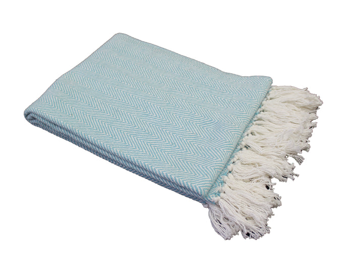 Aqua Herringbone Stripe Throw