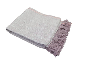 Lavender Herringbone Stripe Throw