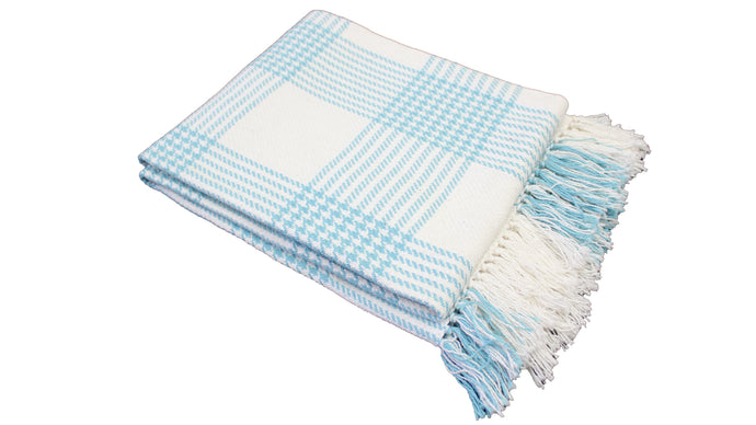 Aqua Plaid Throw