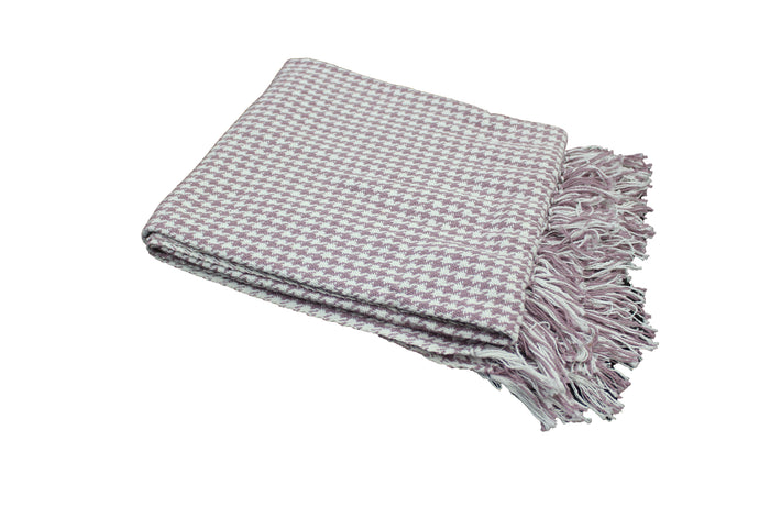 Purple & White Houndstooth Throw