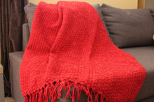 Load image into Gallery viewer, Red Chenille Basket Weave Throw