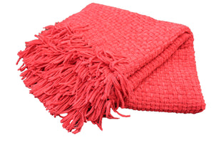 Red Chenille Basket Weave Throw