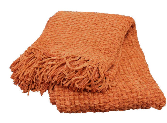 Rust Chenille Basket Weave Throw