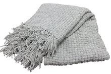 Load image into Gallery viewer, Ash Grey Chenille Basket Weave Throw