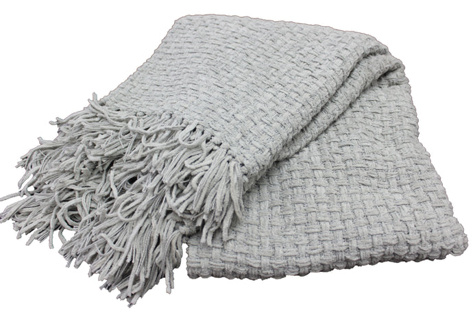 Ash Grey Chenille Basket Weave Throw