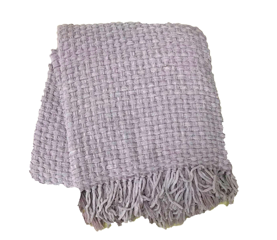 Lilac Chenille Basket Weave Throw