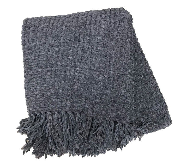 Charcoal Chenille Basket Weave Throw