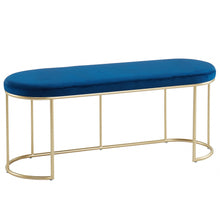 Load image into Gallery viewer, Blue & Gold Velvet Perla Bench | Best Accent Pieces For Living Room