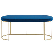 Load image into Gallery viewer, Blue & Gold Velvet Perla Bench