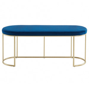 Blue & Gold Velvet Perla Bench