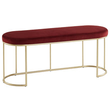Load image into Gallery viewer, Burgundy & Gold Perla Bench  | Best Accent Pieces For Living Room