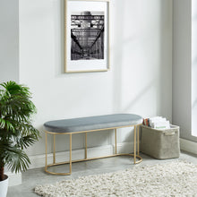 Load image into Gallery viewer, Grey & Gold Velvet Perla Bench | Best Accent Pieces For Living Room