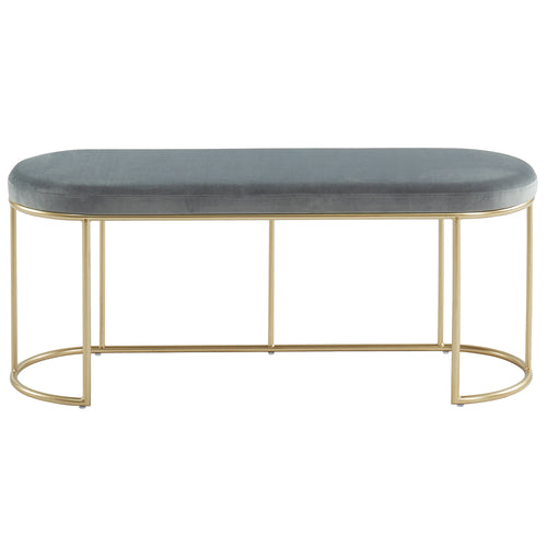Grey & Gold Velvet Perla Bench
