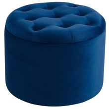 Load image into Gallery viewer, Talia Round Naval Velvet Ottoman