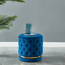 Load image into Gallery viewer, Delilah Round Swivel Ottoman in Blue & Gold