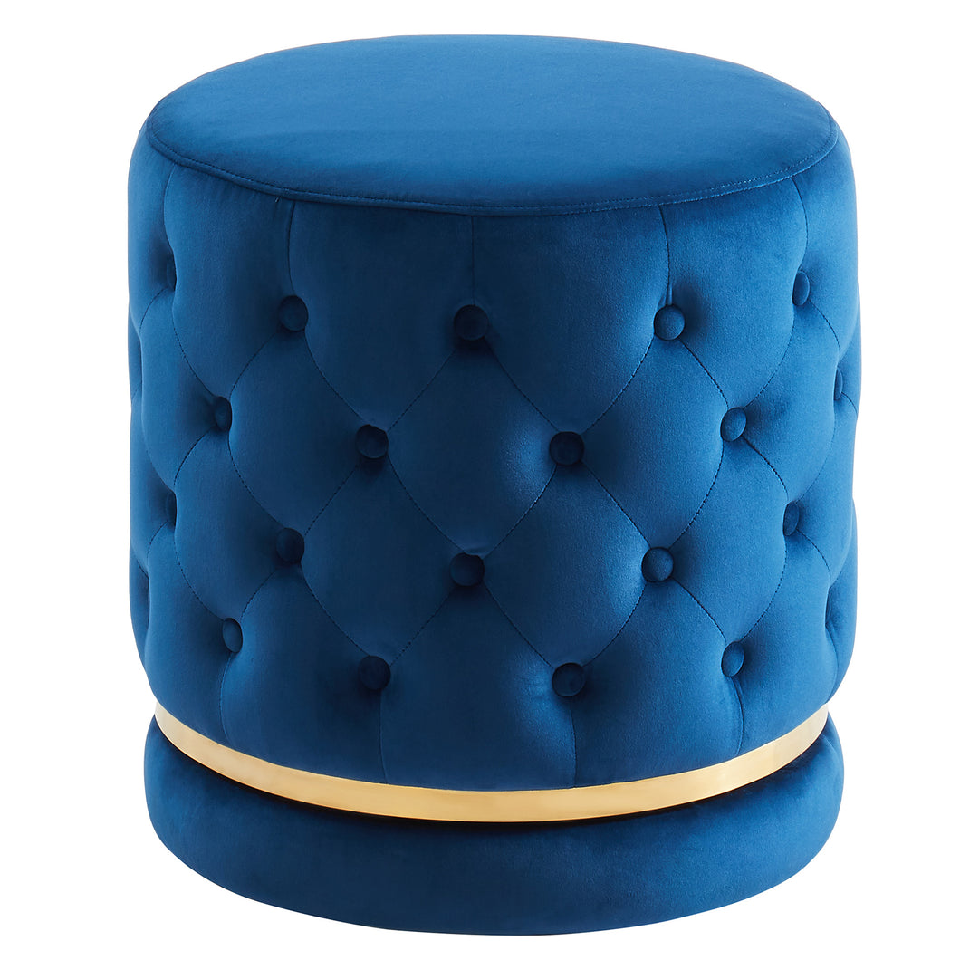 Delilah Round Swivel Ottoman in Blue & Gold