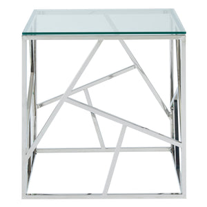 Silver Geometric Accent Table