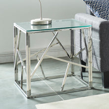Load image into Gallery viewer, Silver Geometric Accent Table