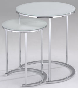 Chrome & White Accent Table