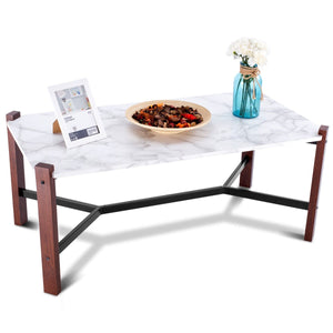 Faux Marble Top Accent Coffee Table