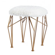 Load image into Gallery viewer, Geo White Faux Fur Stool