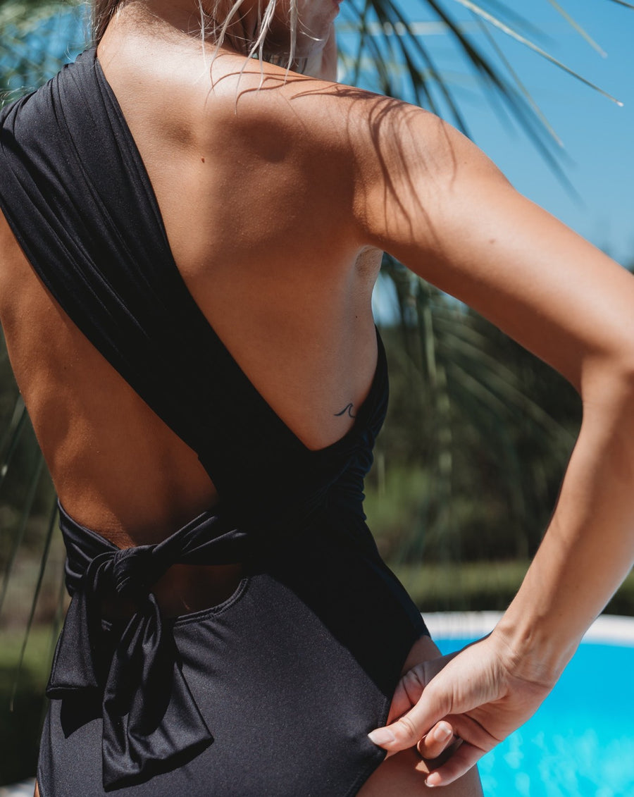 Black one piece swimsuit, Spandex Swimsuit, Spandex one piece swimsuit, One shoulder Swimsuit, High leg cut swimsuit