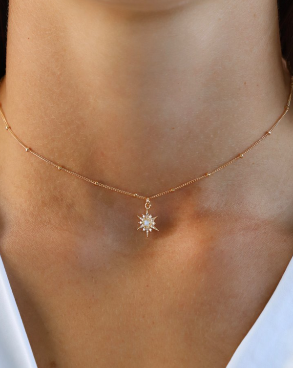 Gold necklace opal gemstone star necklace