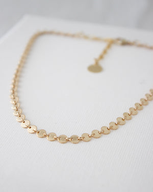 Disk Choker Necklace Gold