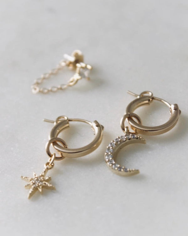 Moon + Diamonds Hoop Earrings