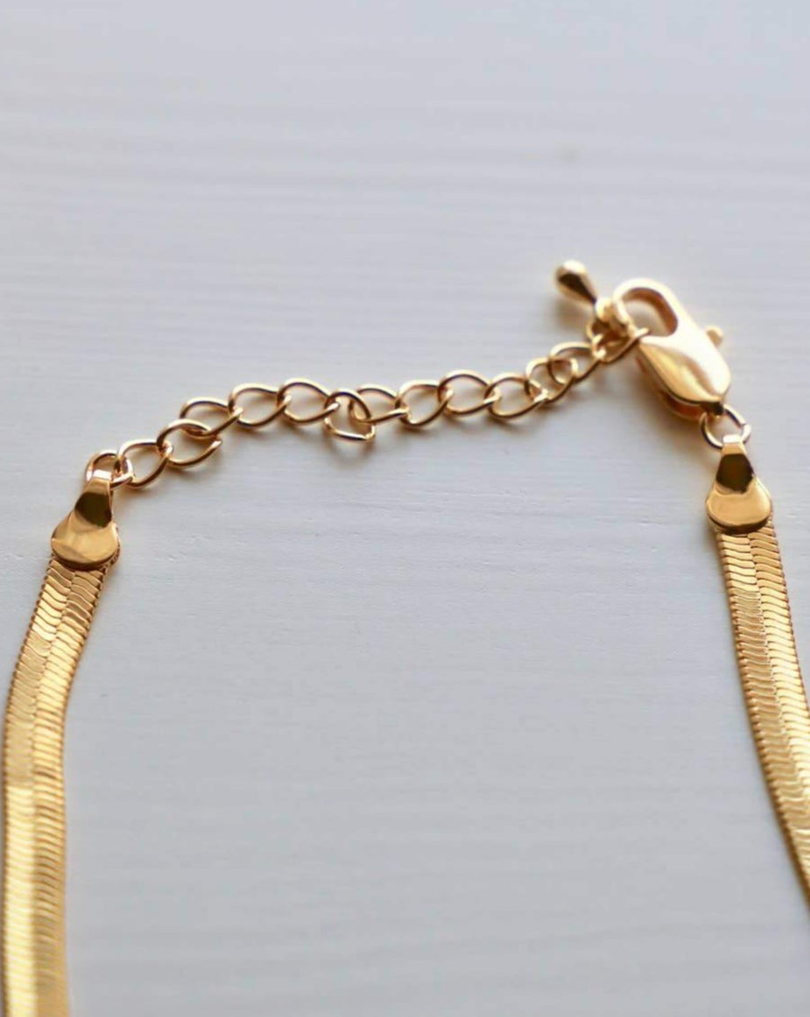 Gold Herringbone Snake Chain Necklace