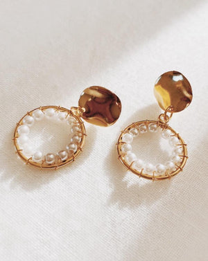 Gold hoop pearl earrings