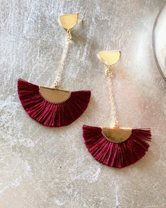 Romantic Red tassel cotton drop earrings gold earrings red earrings