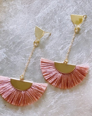 Make Me Blush Pink tassel drop earrings