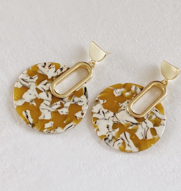 Jennifer Gold Marble Tortoise earrings